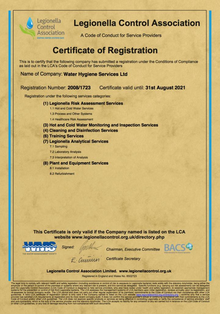 Water Hygiene Service LCA Renewal Certificate